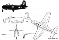 north american fj 1 fury model airplane plan