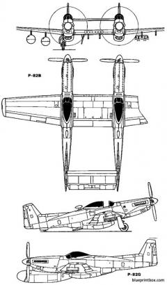 north american p 82 twin mustang 1948 usa model airplane plan