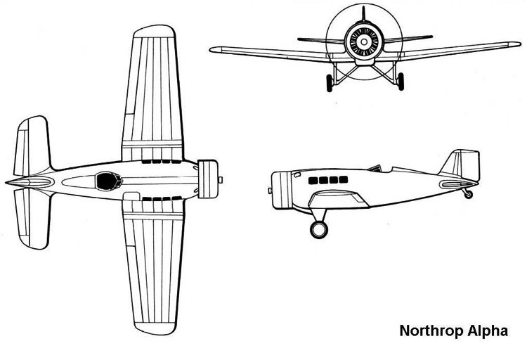 northrop alpha 3v model airplane plan