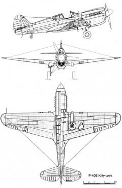 p40e 3v model airplane plan