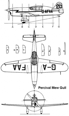 percival mewgull 3v model airplane plan