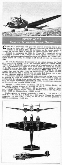 potez 63 11 model airplane plan