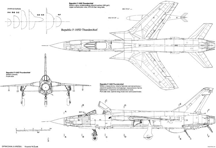 republic f 105 thunderchief 7 model airplane plan