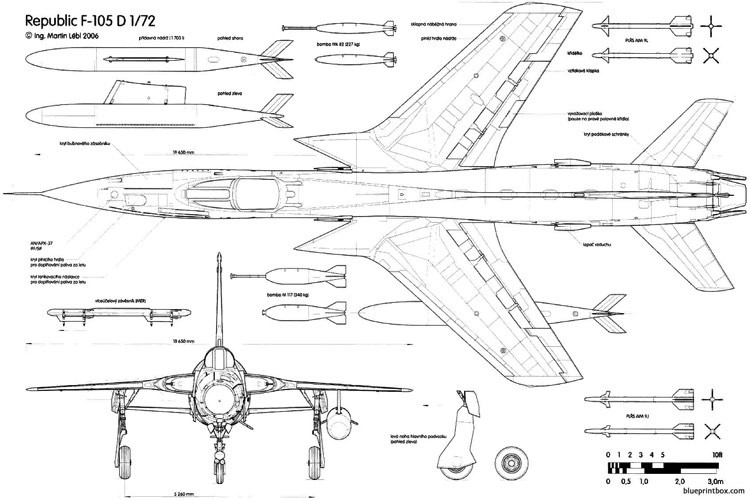 republic f 105d thunderchief 2 2 model airplane plan