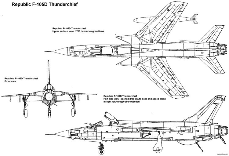 republic f 105d thunderchief 6 model airplane plan