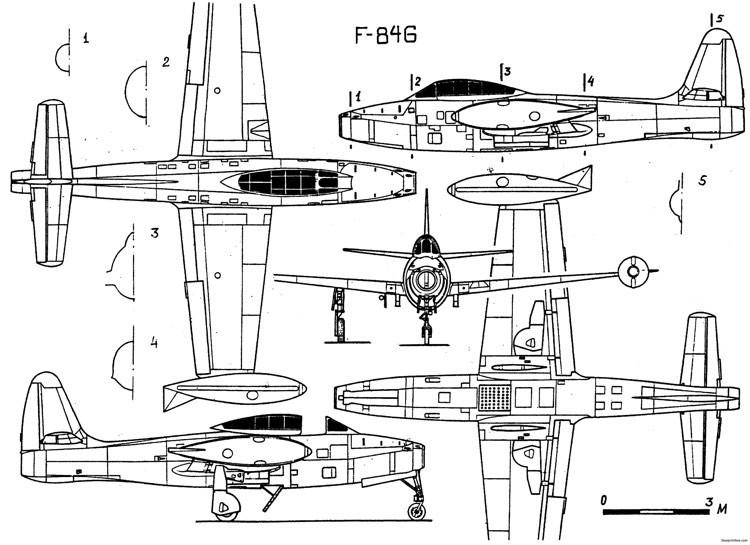 republic f 84 thunderjet 2 model airplane plan