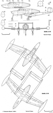 saab j21r model airplane plan