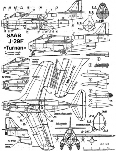 saab j29 tunnan 2 model airplane plan
