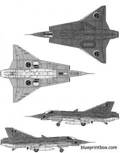 saab j35f draken model airplane plan