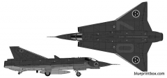 saab j35j draken model airplane plan