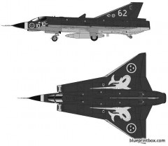 saab j35j draken 2 model airplane plan