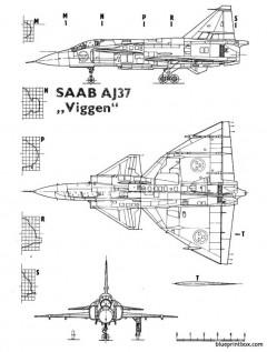 saab j37 viggen 2 model airplane plan