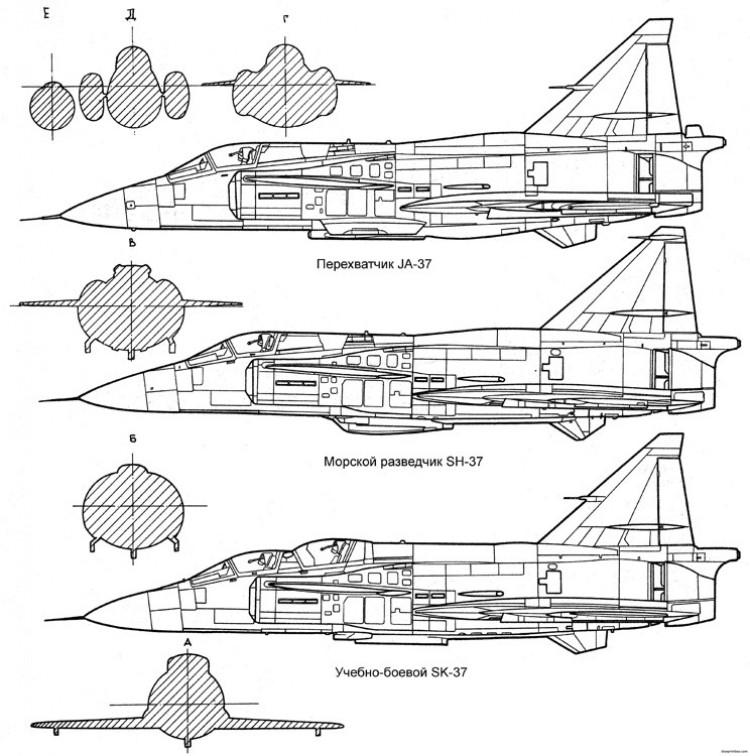 saab j37 viggen 3 model airplane plan