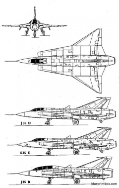 saab j 35 draken model airplane plan