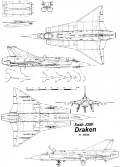 saab j 35 draken 5 model airplane plan