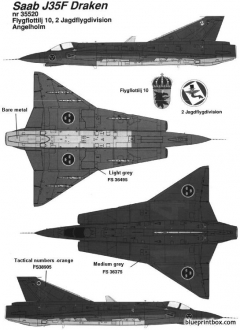 saab j 35 draken 6 model airplane plan