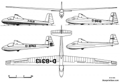 schleicher ka 8b model airplane plan