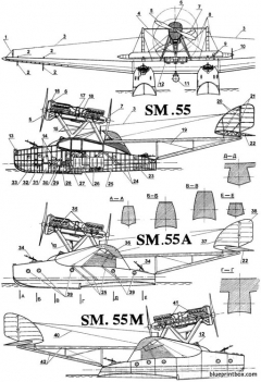 siai savoia marchetti sm55 model airplane plan