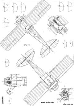 spad vii model airplane plan