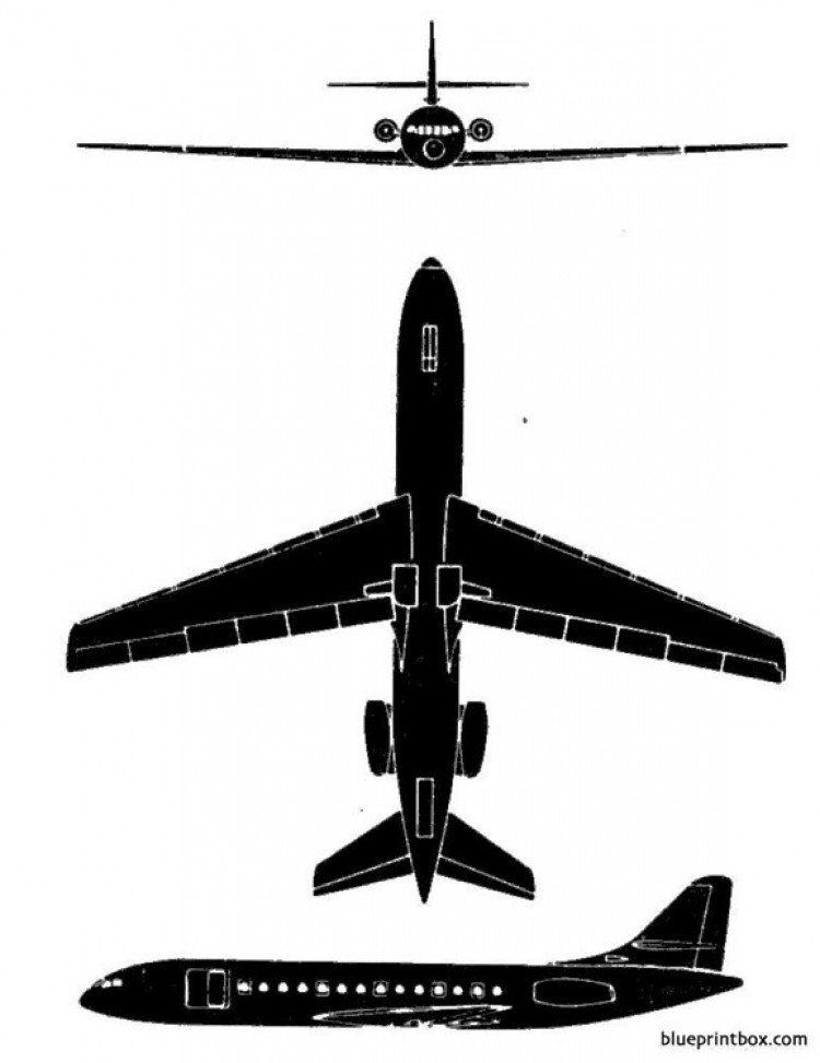 sud aviation caravelle model airplane plan