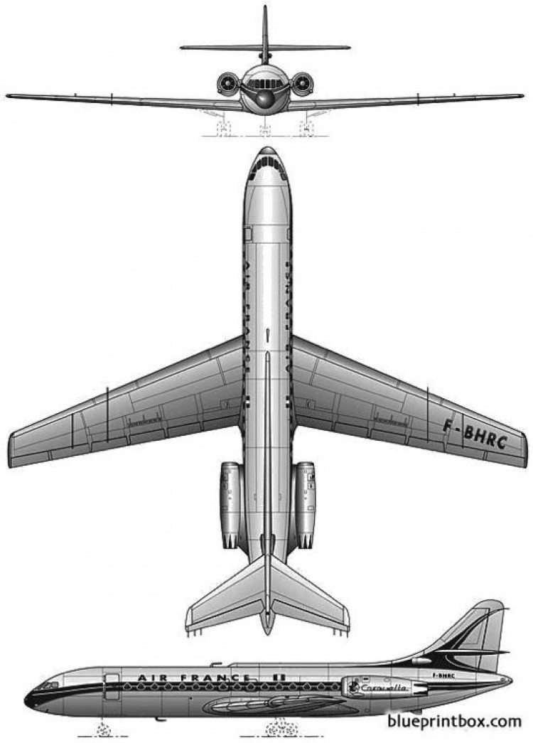 sud aviation se210 caravelle 3 model airplane plan