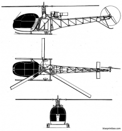 sud aviation se 3130alouette ii model airplane plan