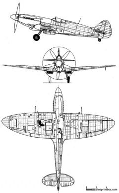 supermarine spitfire mk xive model airplane plan