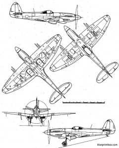supermarine spitfire mk xxii model airplane plan