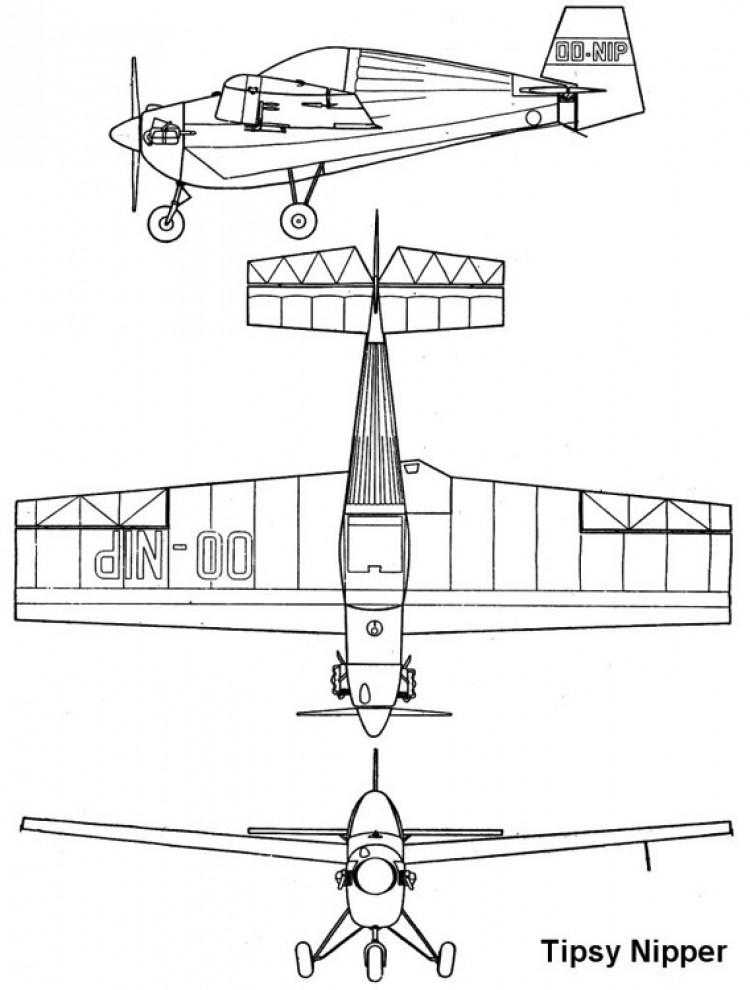 tipsy nipper 3v model airplane plan