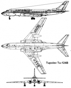 tu124 3v model airplane plan