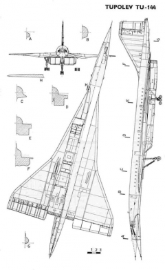 tu144 3v model airplane plan