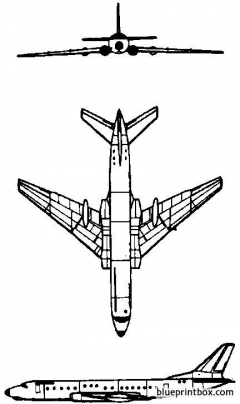 tupolev tu 104 1955 russia model airplane plan