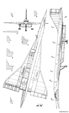 tupolev tu 144 model airplane plan