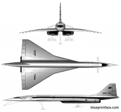 tupolew tu 144 supersonic airliner model airplane plan