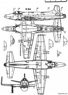vickers supermarine 398 attacker model airplane plan