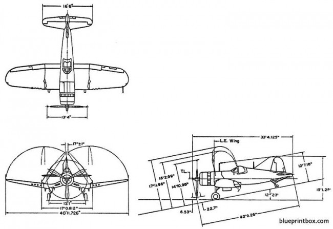 vought f4u 1d model airplane plan