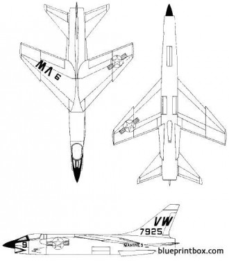 vought f8u crusader model airplane plan