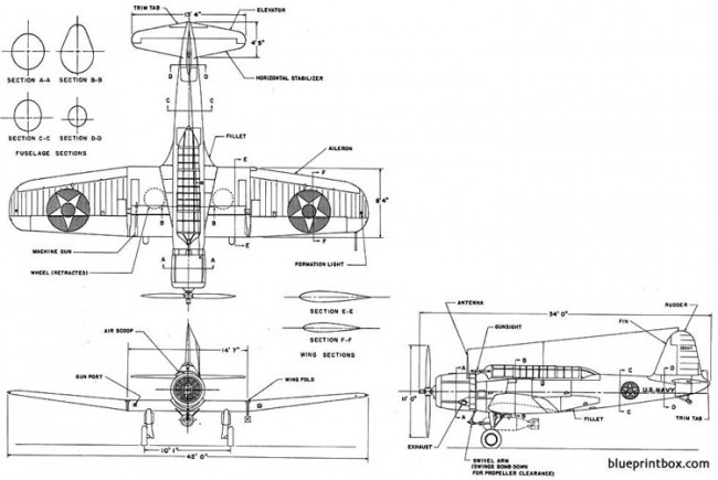 vought sb2u 1 model airplane plan