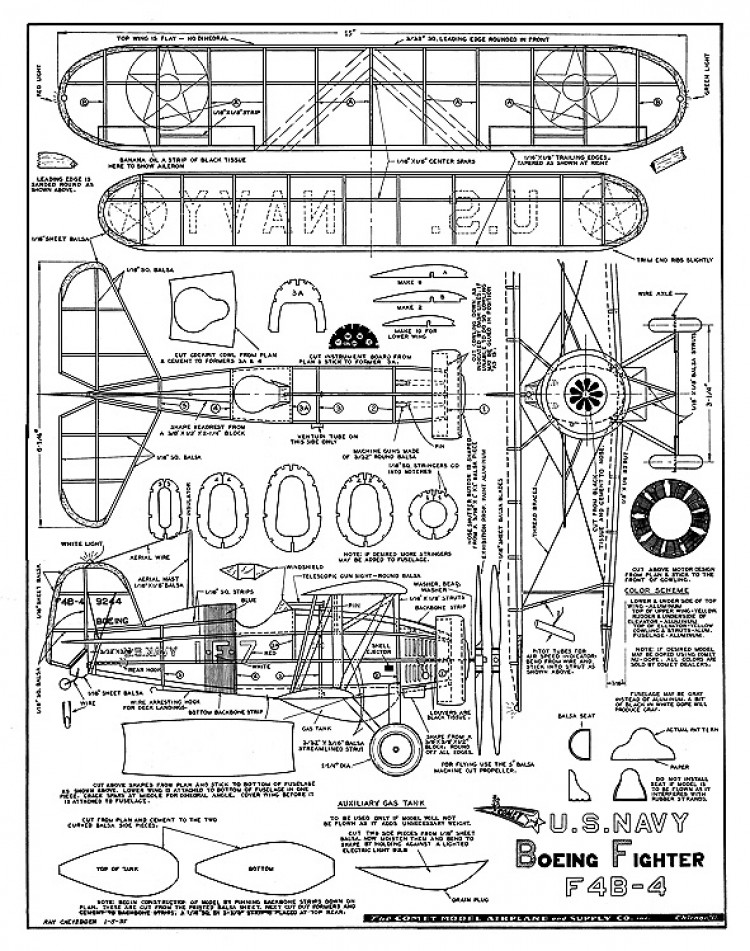 Boeing F4B-4 - 1930's Navy biplane by Comet model airplane plan