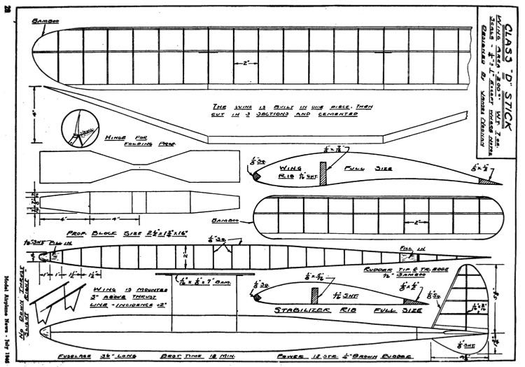Class D p1 model airplane plan