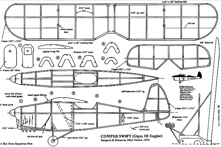 Comper model airplane plan