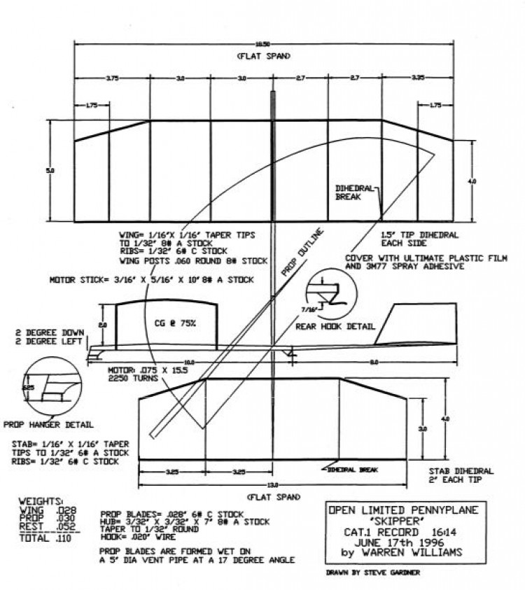 LPP Warren Williams - Skiper model airplane plan