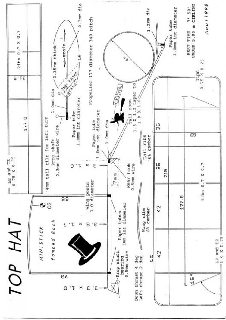 Ministick Edmond Roch - Top Hat model airplane plan