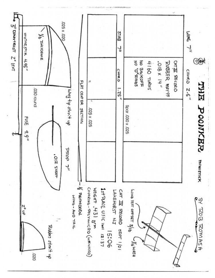 Ministick Rob Romash -  Poonker model airplane plan