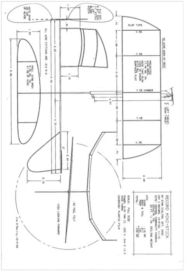 Ministick Stan Chilton - Record Mini-Stick model airplane plan