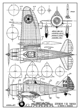 Serversky P-35 - 1937 fighter, 3-view with cross sections from Air Trails model airplane plan