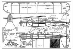 Single Engine Transport - 1930's low-wing sport rubber model kit by Guillow model airplane plan