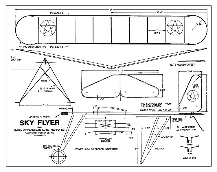 Sky Flyer - 1932, a simple stick fuselage, single surface covered wing plane by Joe Ott model airplane plan