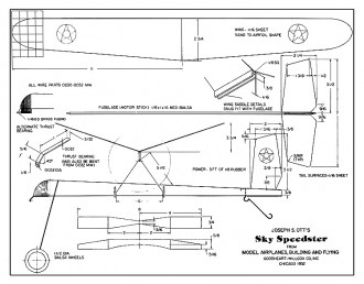 Sky Speedster - a simple stick fuselage, balsa wing, model by Joe Ott model airplane plan