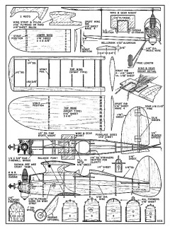 Smith Special - semi-scale half-A all sheet balsa biplane by Calhoun Smith from Air Trails - cut model airplane plan